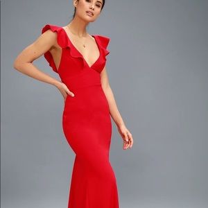 Lulu's red perfect opportunity maxi dress